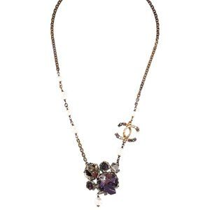 CHANEL Multi-Gem & Faux Pearl CC Pendant Necklace